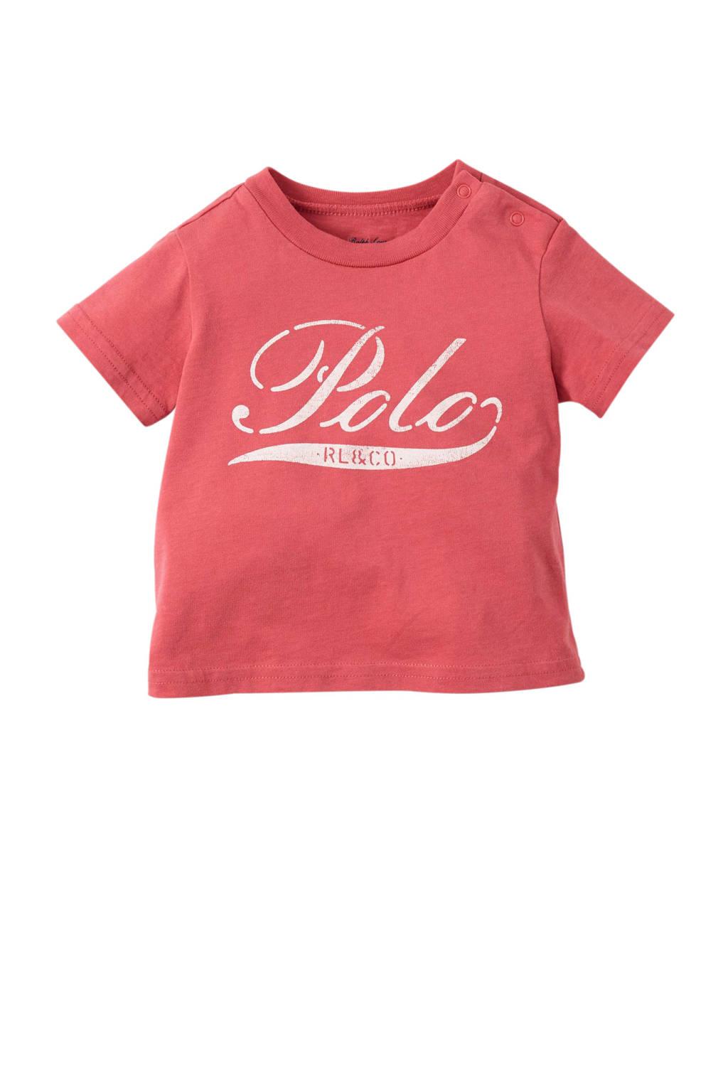 POLO Ralph Lauren baby T-shirt met logo zachtrood, Zachtrood