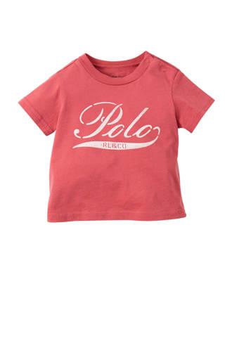 baby T-shirt met logo zachtrood
