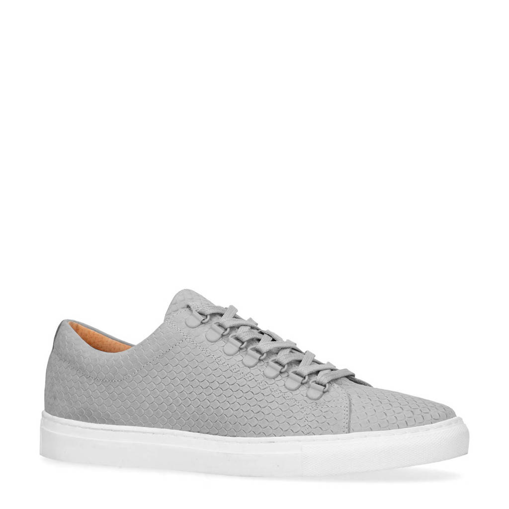 Manfield  nubuck sneakers grijs, Grijs