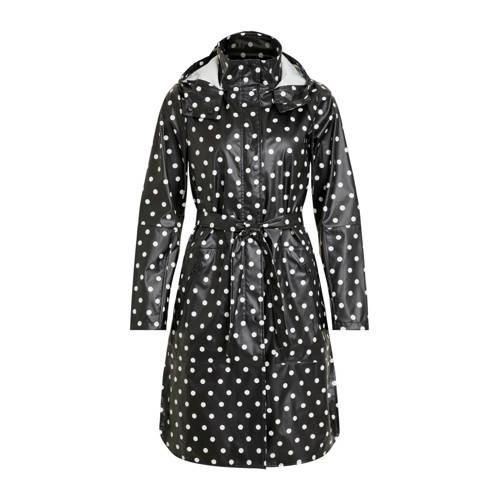 OBJECT regenjas met stippen zwart kopen