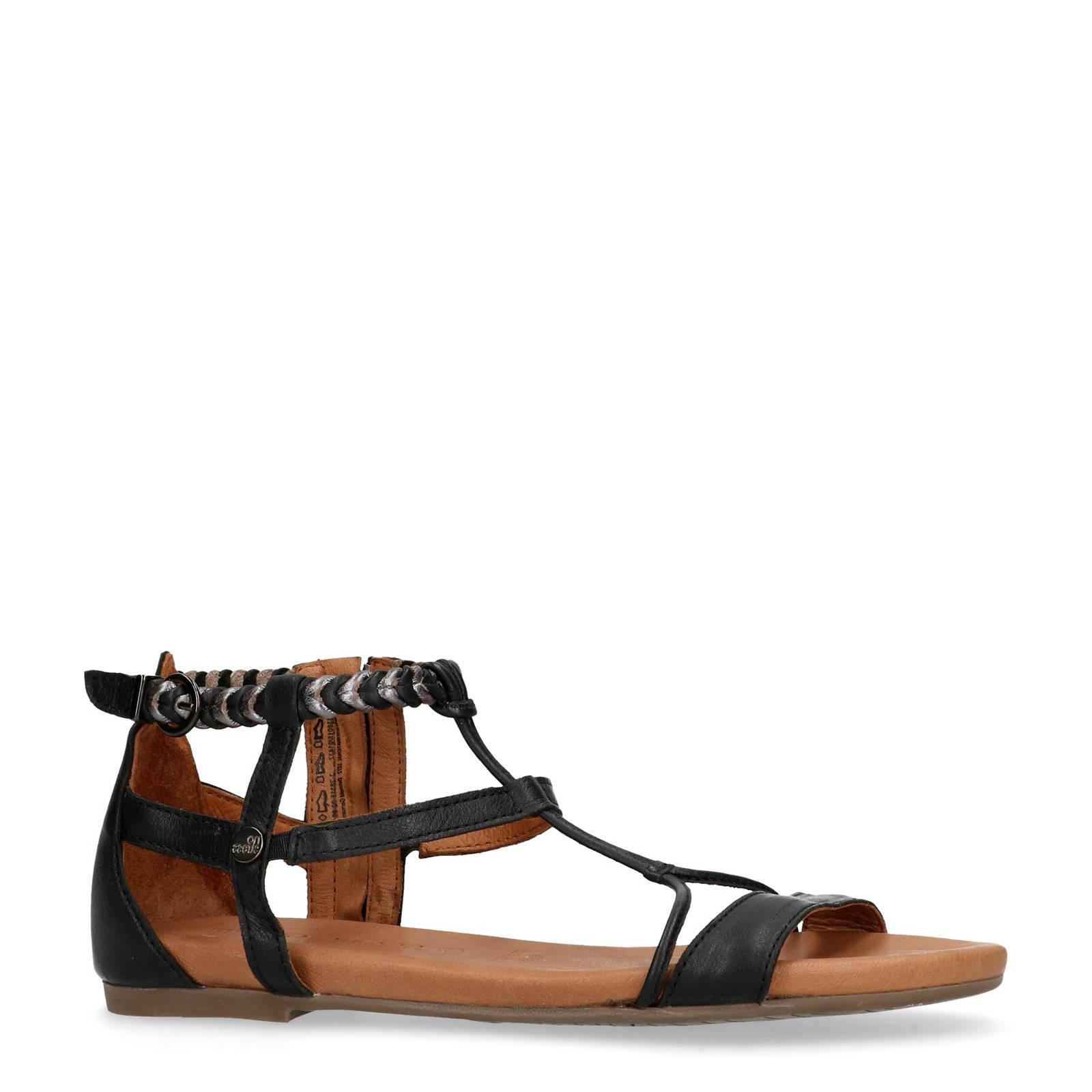 f10e3fc6b030a3 No Stress leren sandalen zwart   wehkamp