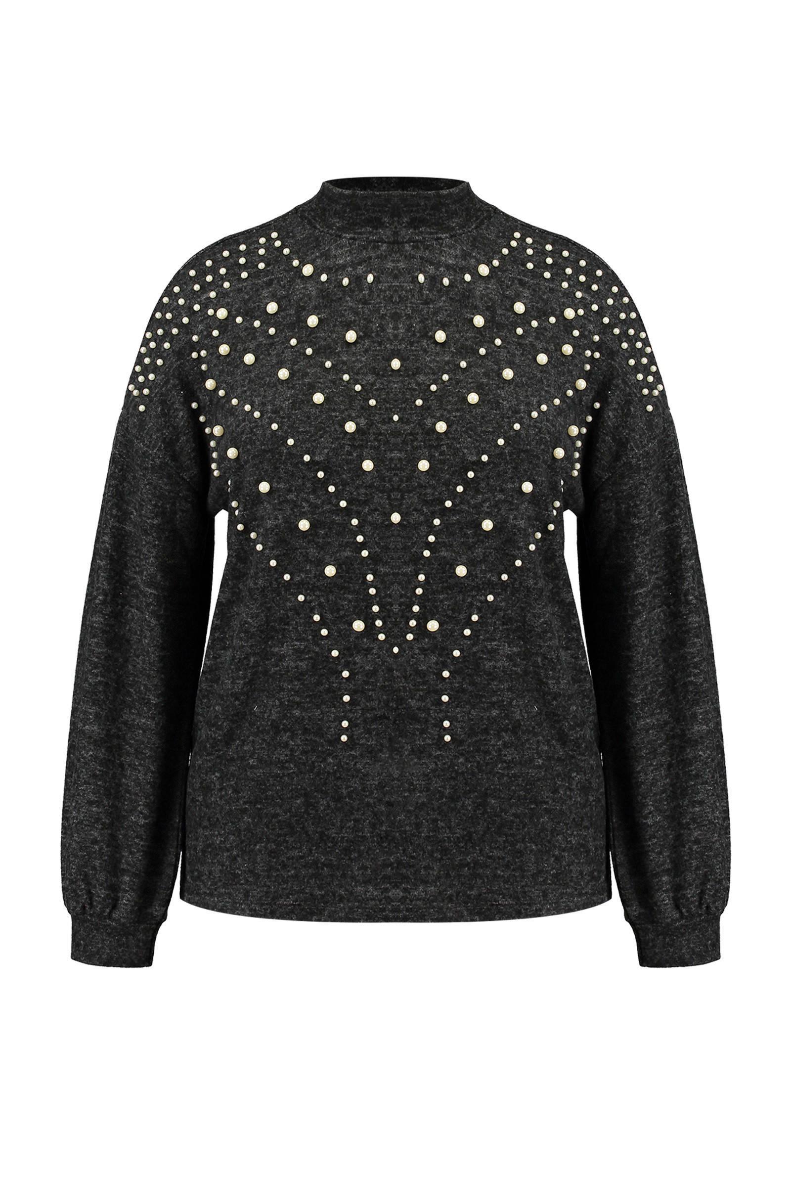 MS Mode gemêleerde trui met parels antraciet (dames)