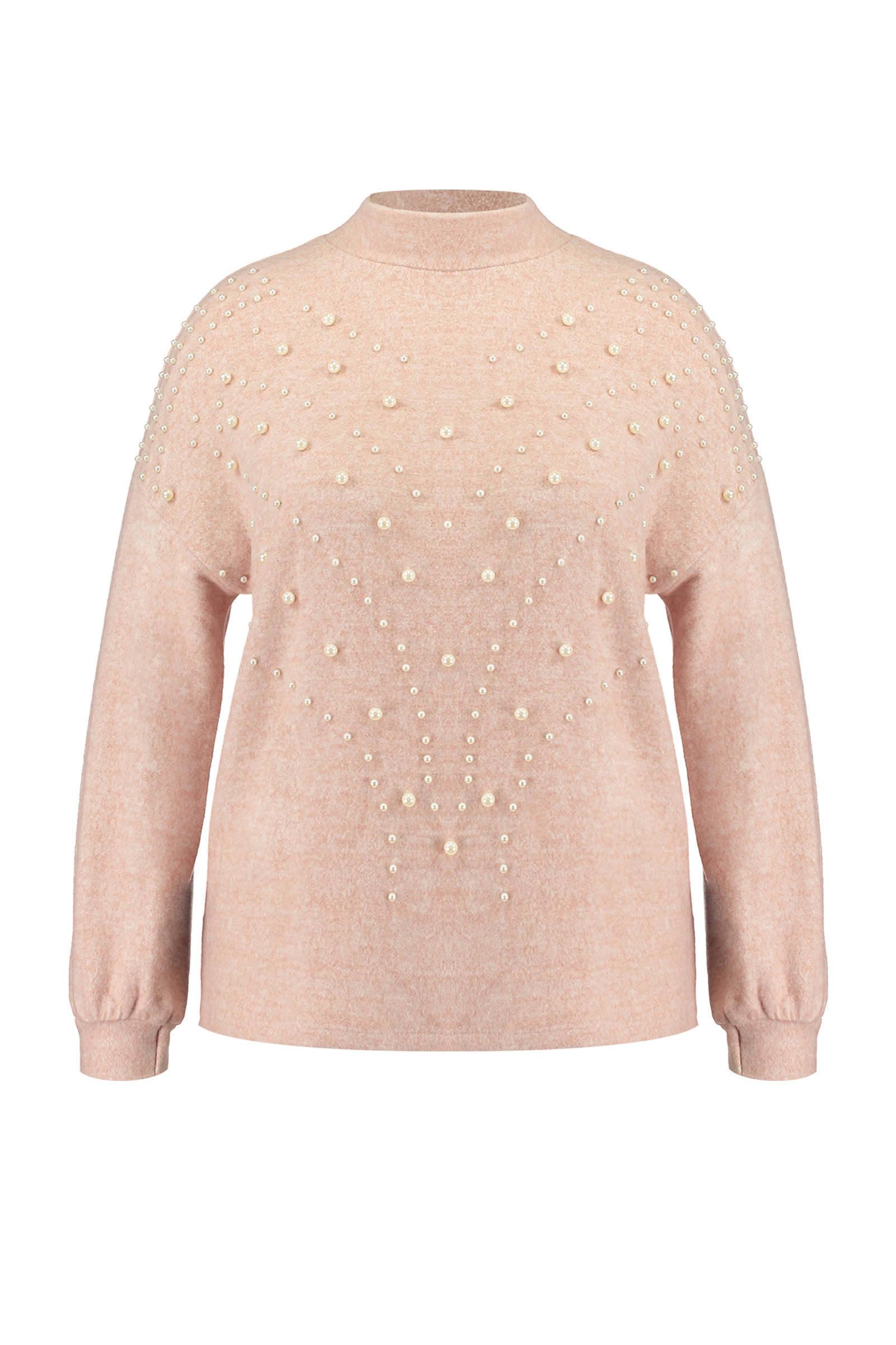 MS Mode gemêleerde trui met parels lichtroze (dames)