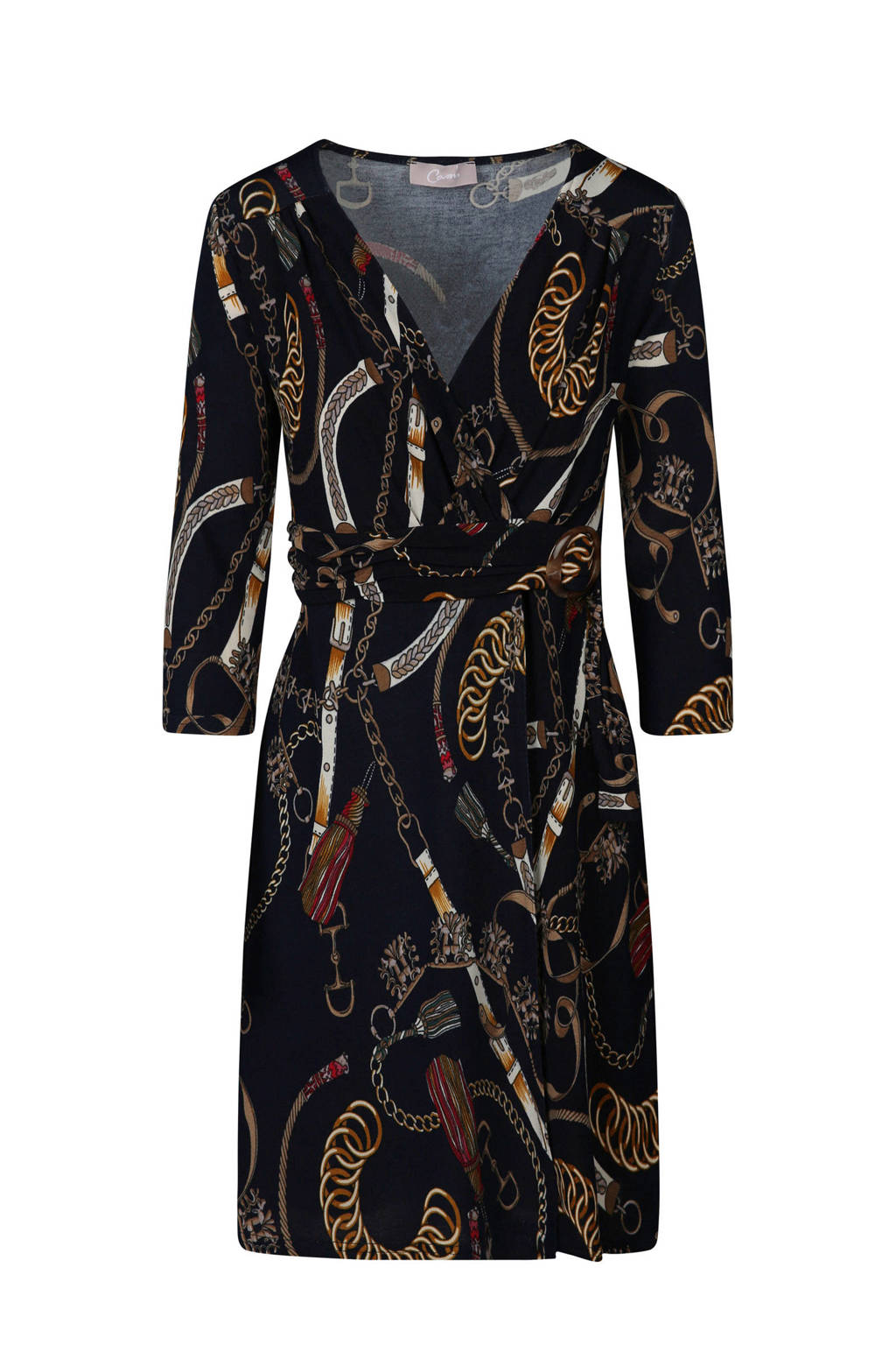 Cassis jurk met kettingprint, Blauw