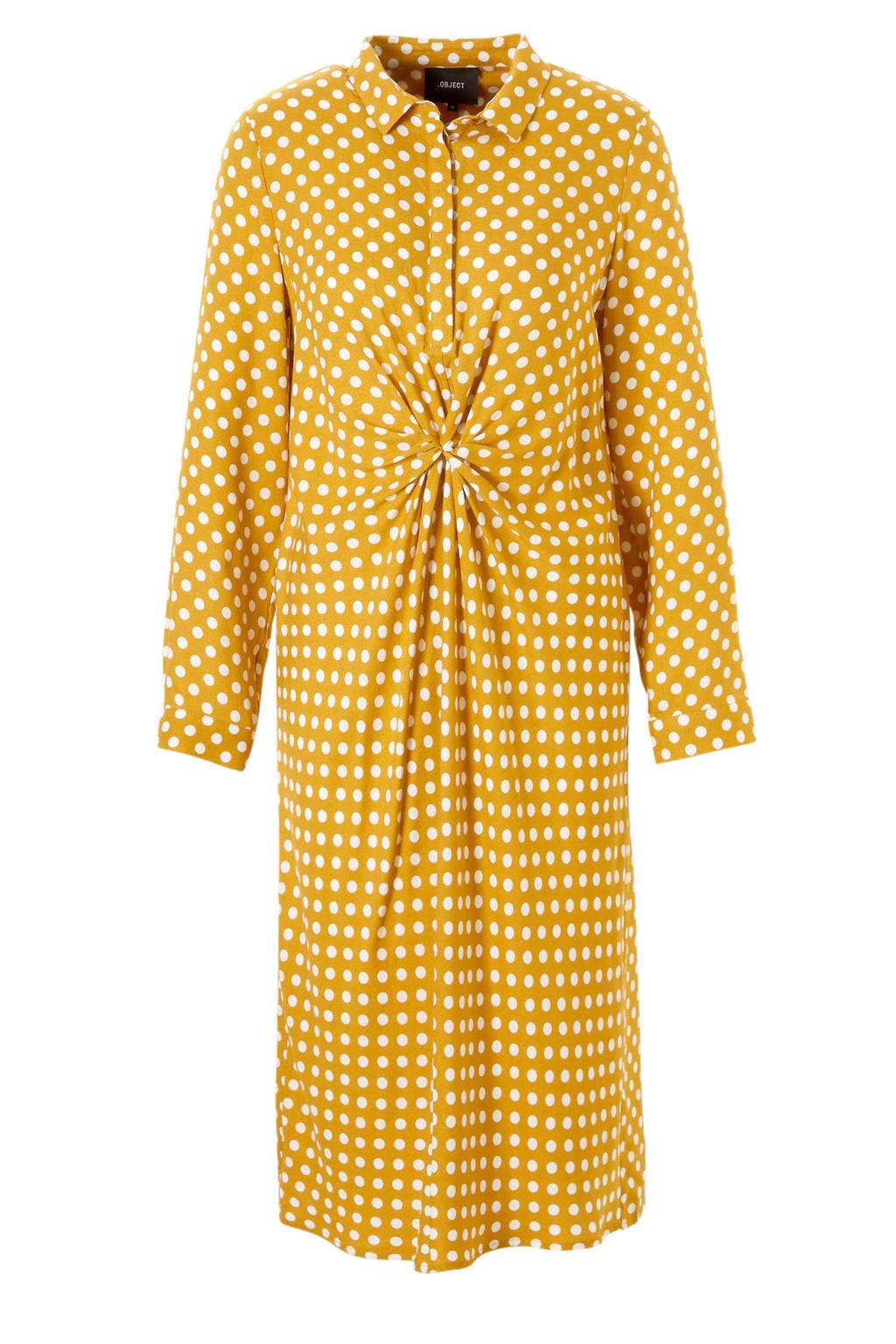 OBJECT gestipte jurk met plooien, Geel/wit
