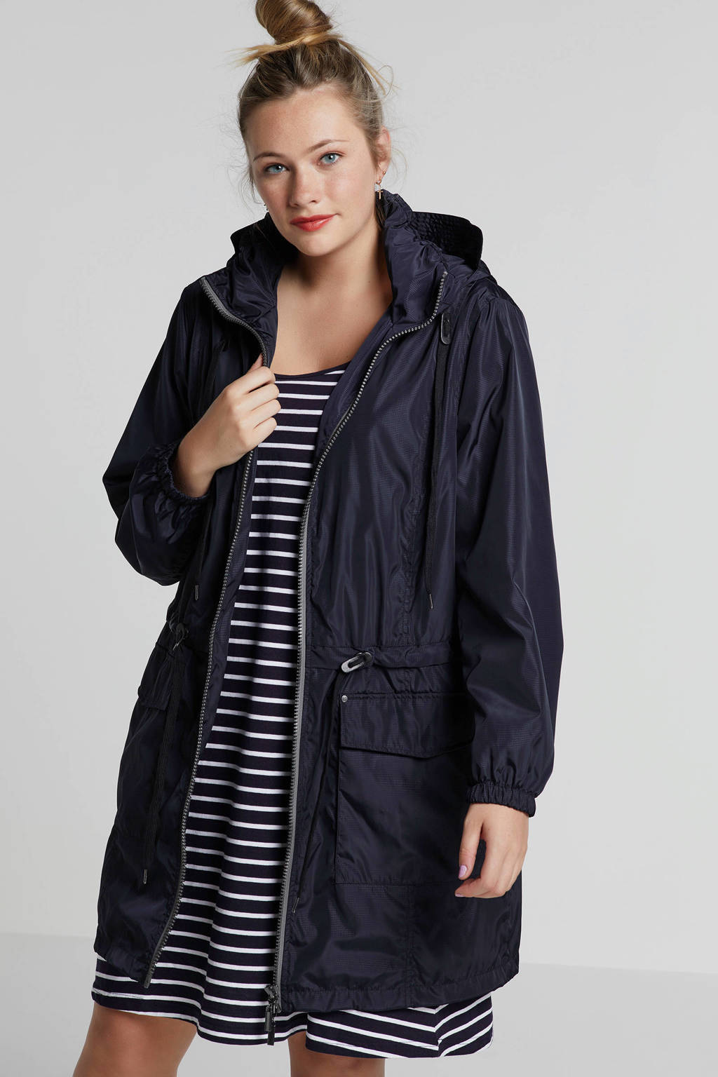 Plus by Etage jas met capuchon donkerblauw, Donkerblauw