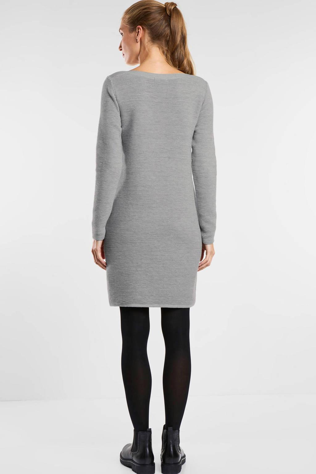 CECIL ribgebreide jurk grijs, Grijs