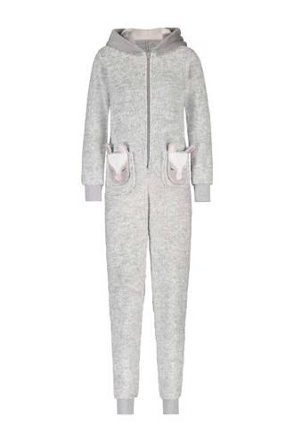 fleece onesie met capuchon grijs
