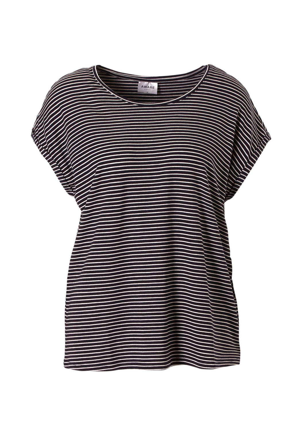 AWARE by VERO MODA gestreept T-shirt, Zwart/wit