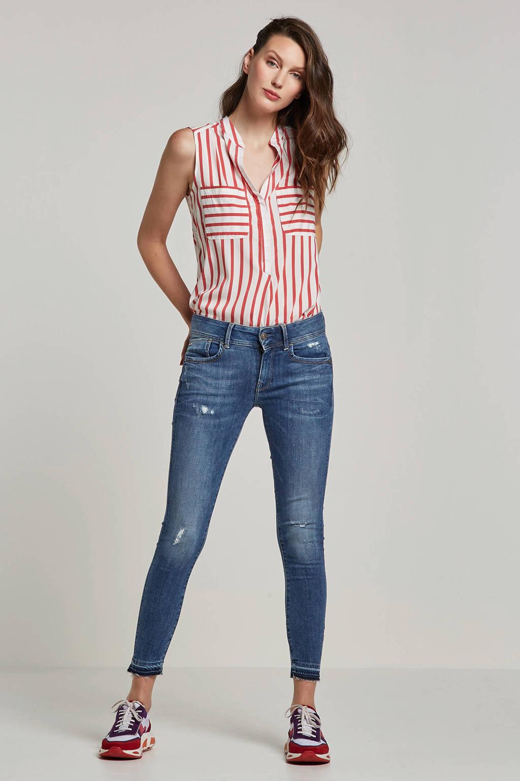 VERO MODA mouwloze top met strepen, rood/ wit