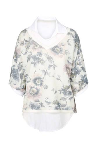 2-in-1 mohair sweater met bloemenprint