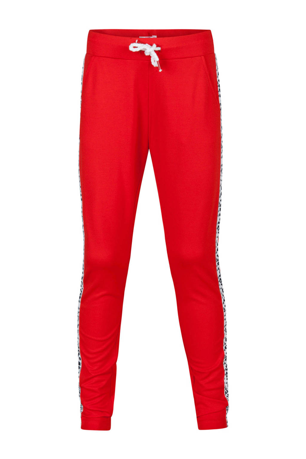 WE Fashion joggingbroek met zijstreep rood, Rood