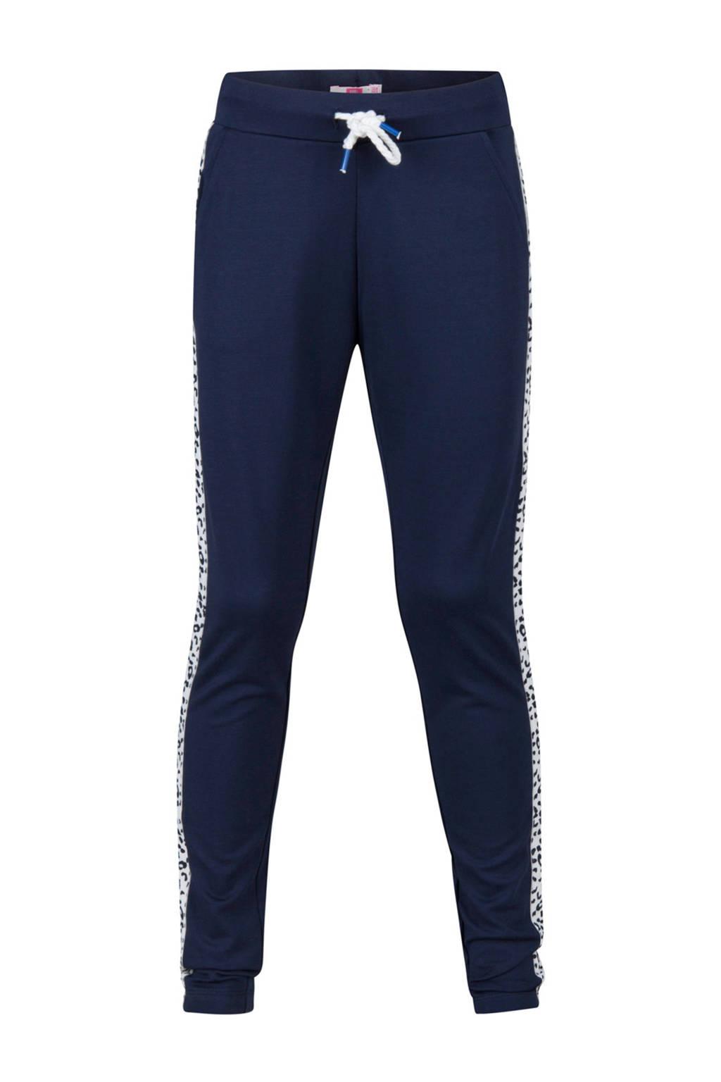 WE Fashion joggingbroek met zijstreep blauw, Donkerblauw