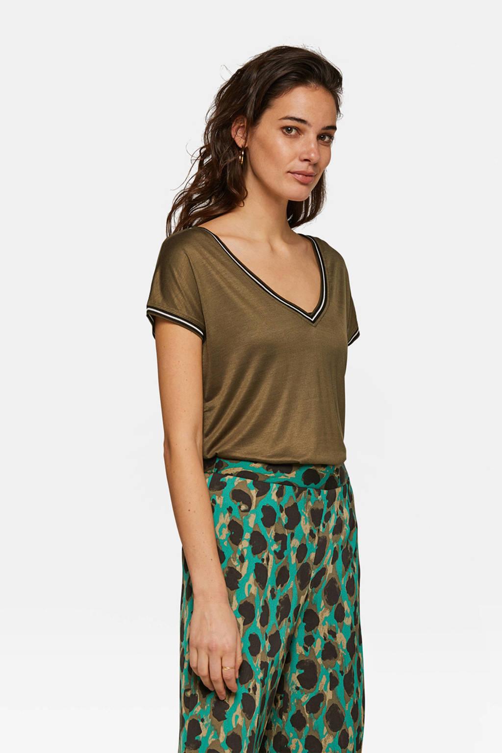 WE Fashion top met v-hals, Dark khaki