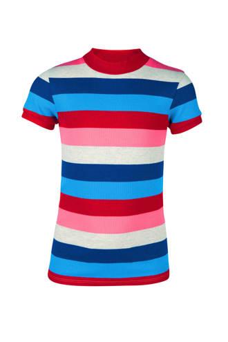 gestreept T-shirt met ribtextuur