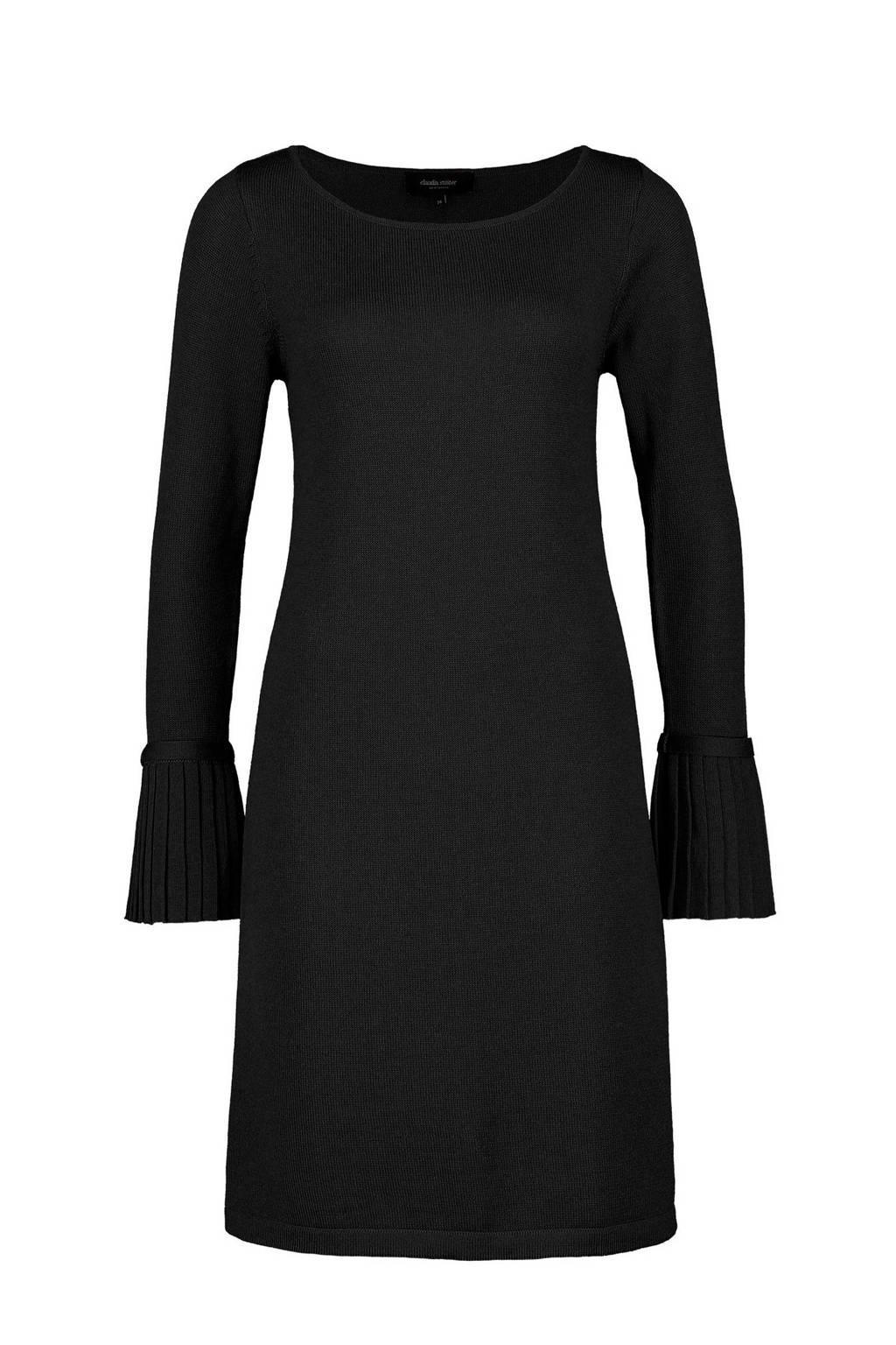Claudia Sträter gebreide wollen jurk zwart, Zwart