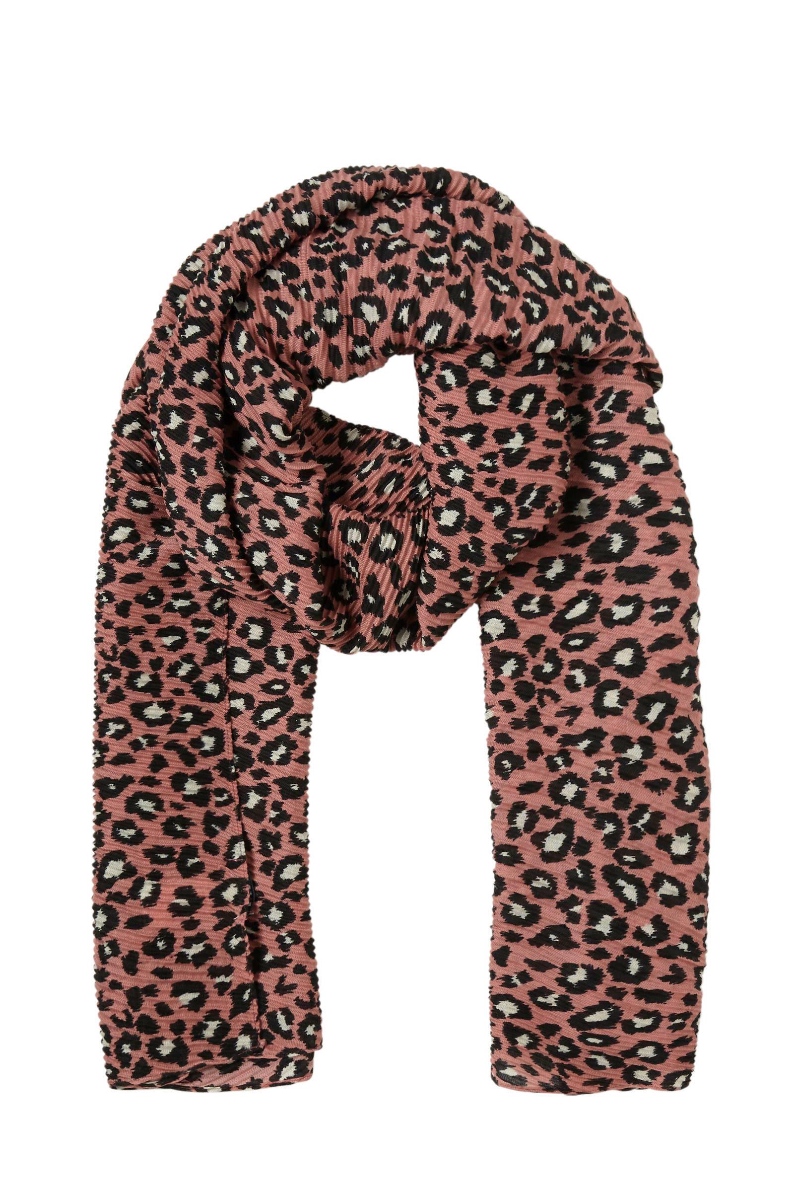 Pieces plissé sjaal met panter print