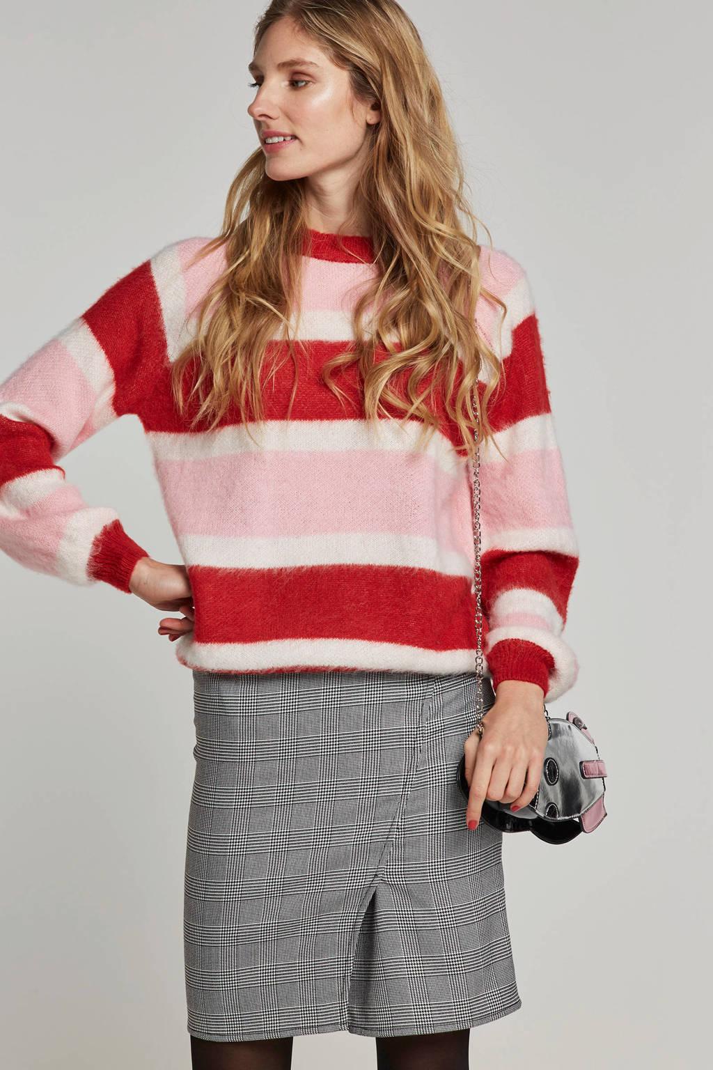 PIECES gestreepte trui rood/roze//wit, Rood/roze//wit