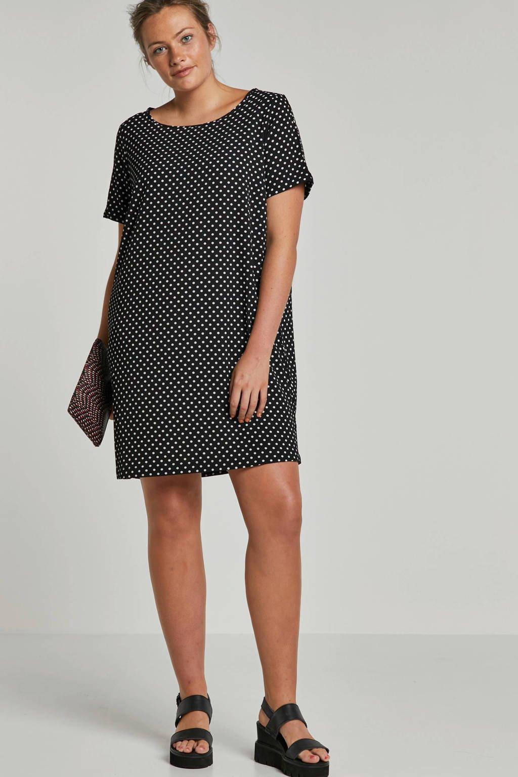 ONLY carmakoma jurk met stippen, zwart/ wit