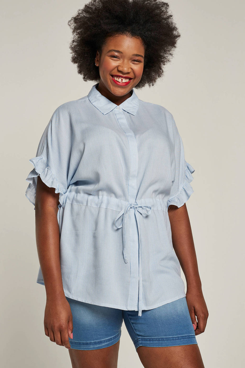 ONLY carmakoma blouse met ruches en strepen, Lichtblauw