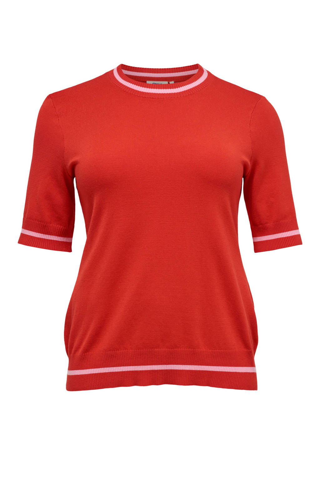 ONLY carmakoma top met gestreepte rib boorden, Rood/roze