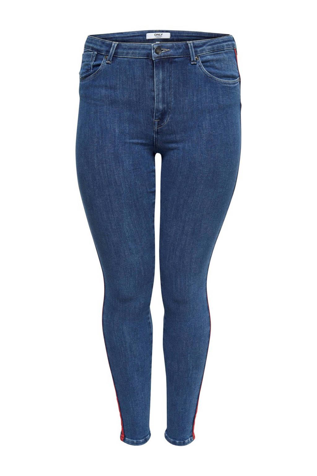 ONLY carmakoma jeans met zijstreep, Blauw/rood