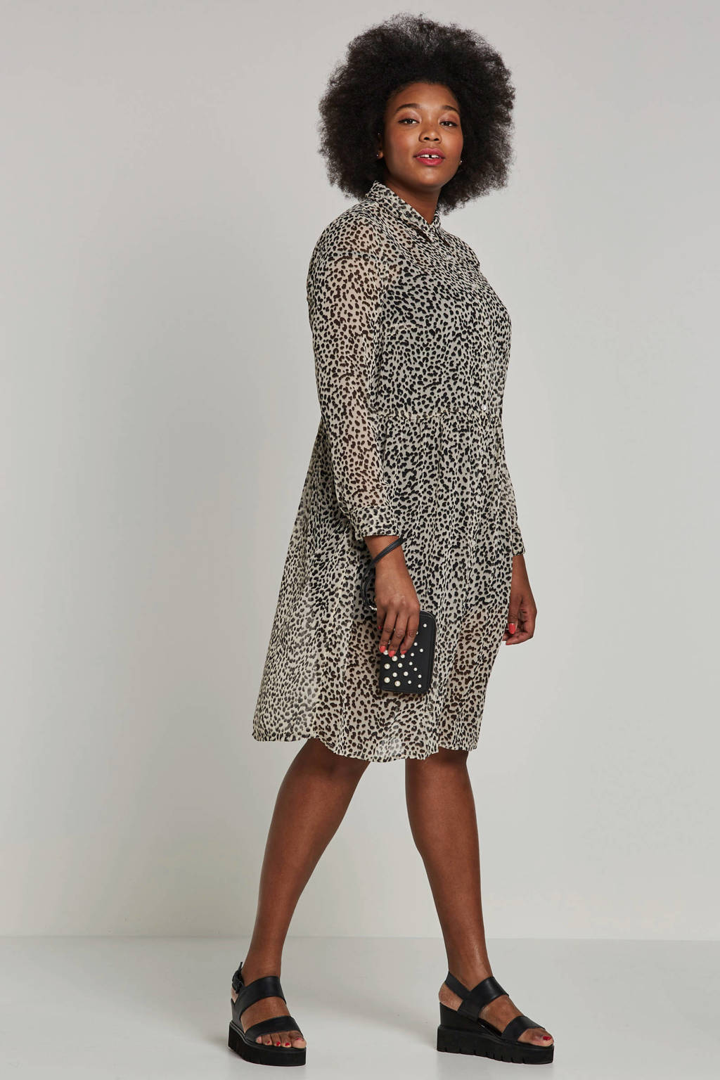 ONLY carmakoma jurk met luipaardprint, Wit/zwart
