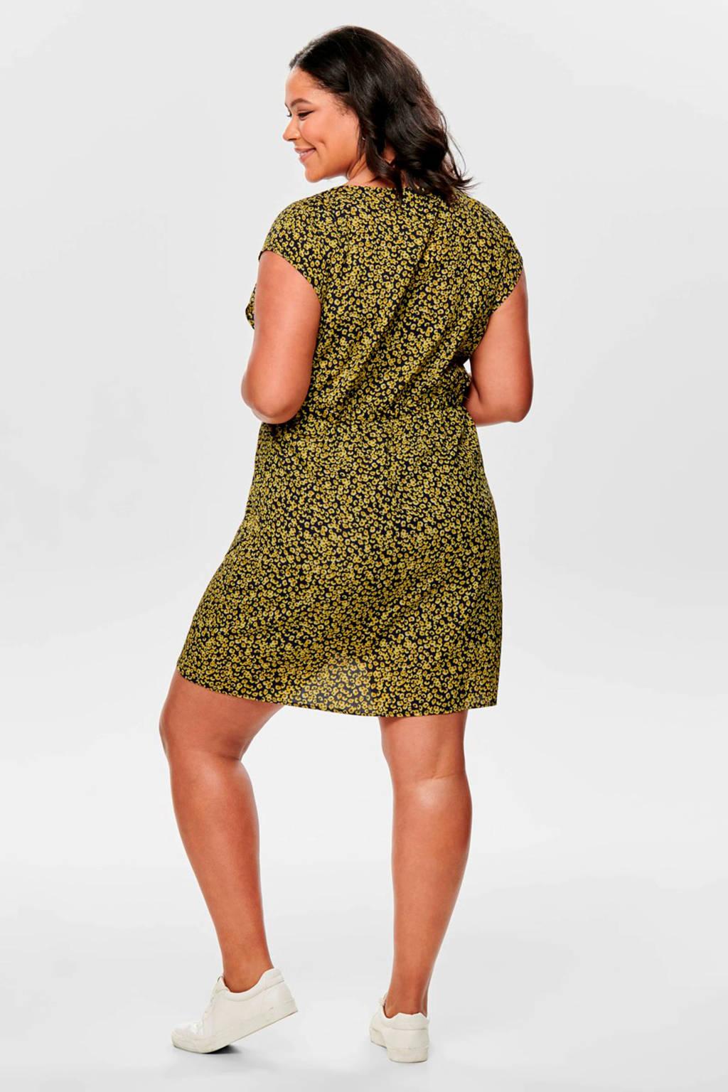 ONLY carmakoma jurk met all over print geel, Geel/zwart