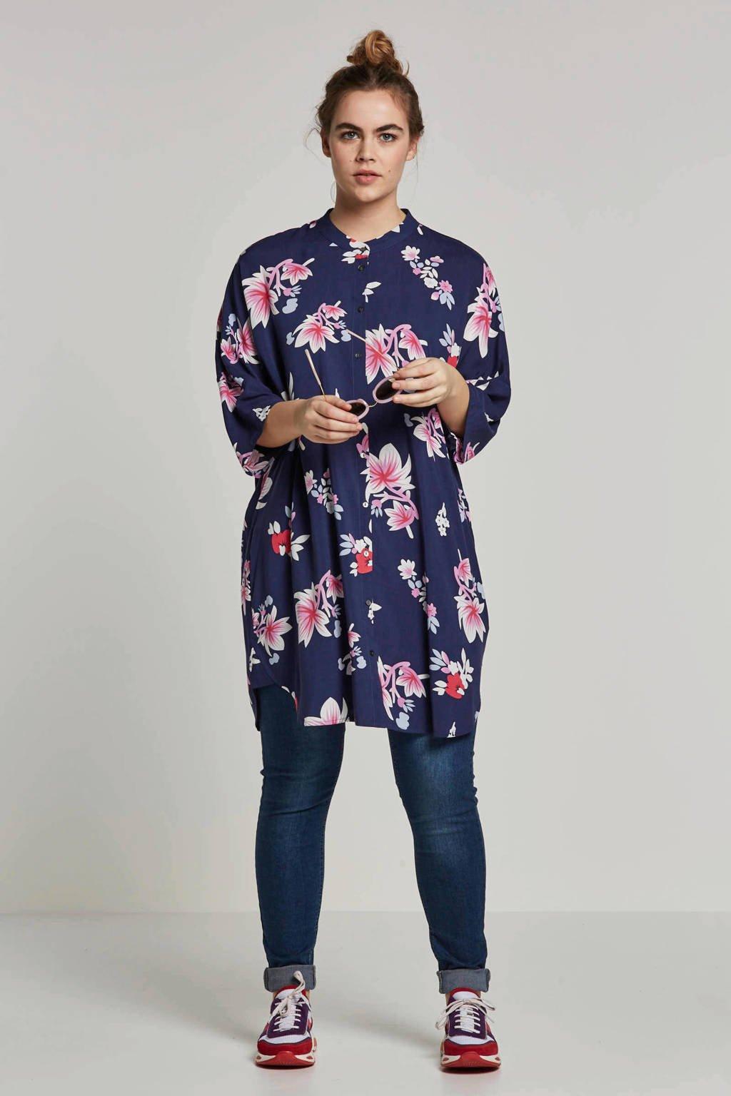 ONLY carmakoma blouse met bloemenprint, Donkerblauw/ roze