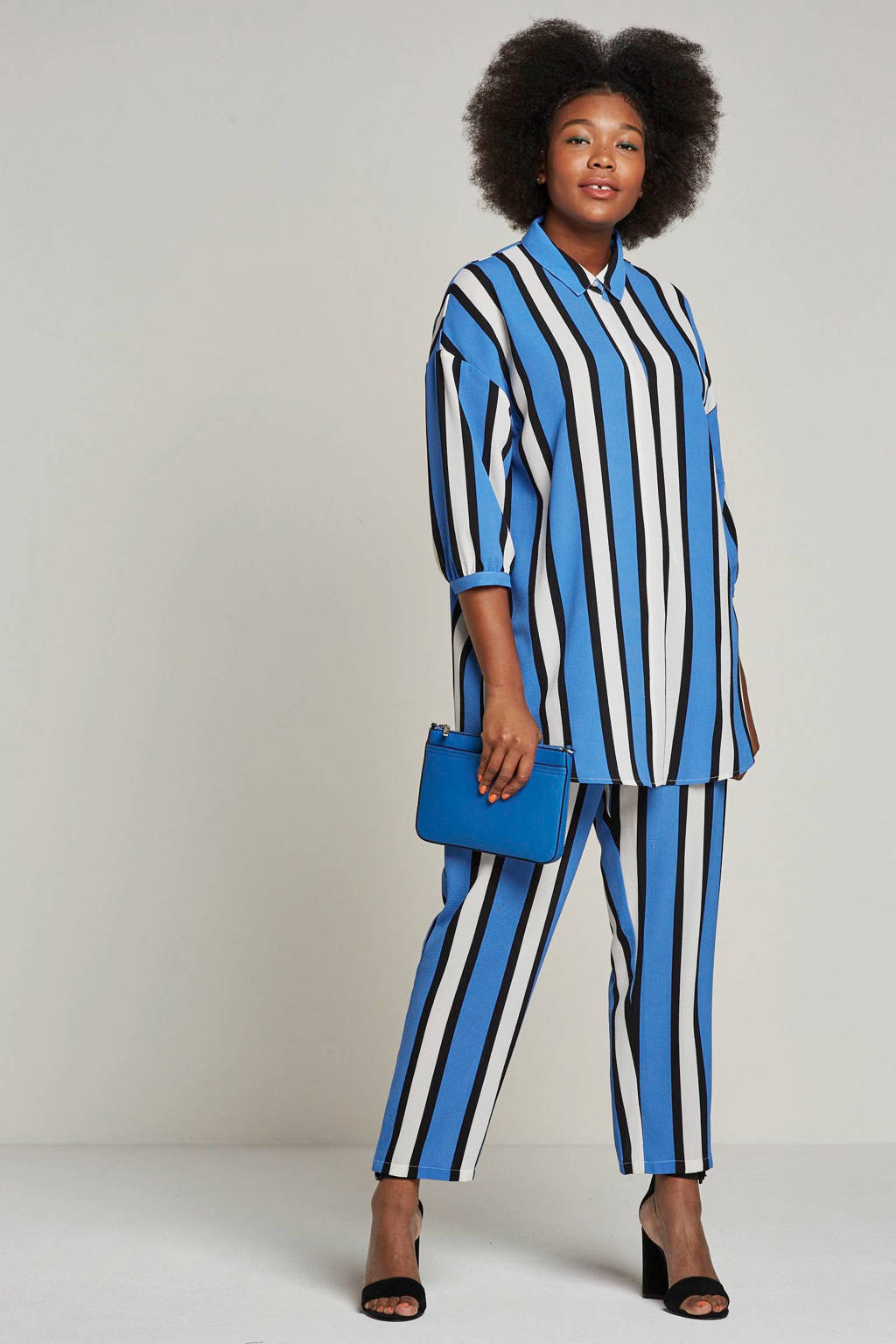 ONLY carmakoma blouse met strepen, Blauw/wit/zwart