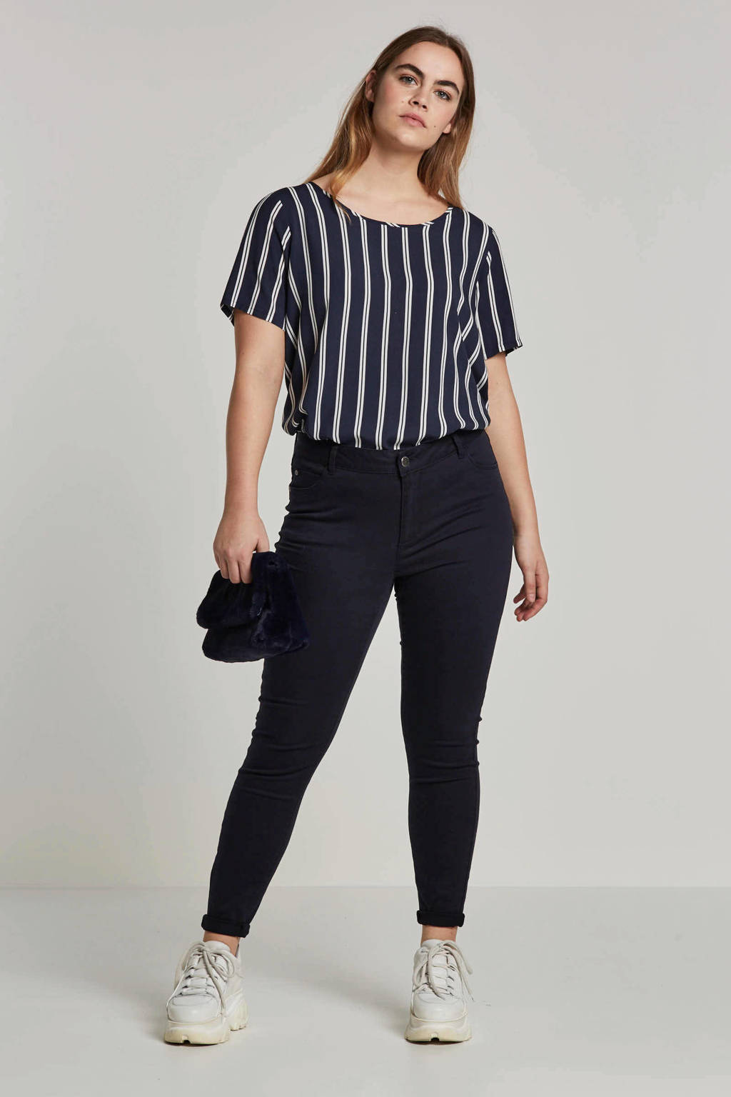 ONLY carmakoma top met strepen, Donkerblauw/wit