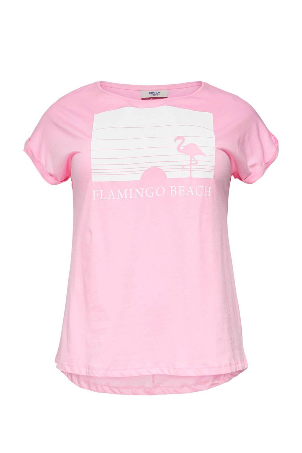 ONLY carmakoma T-shirt met printopdruk, roze/ wit