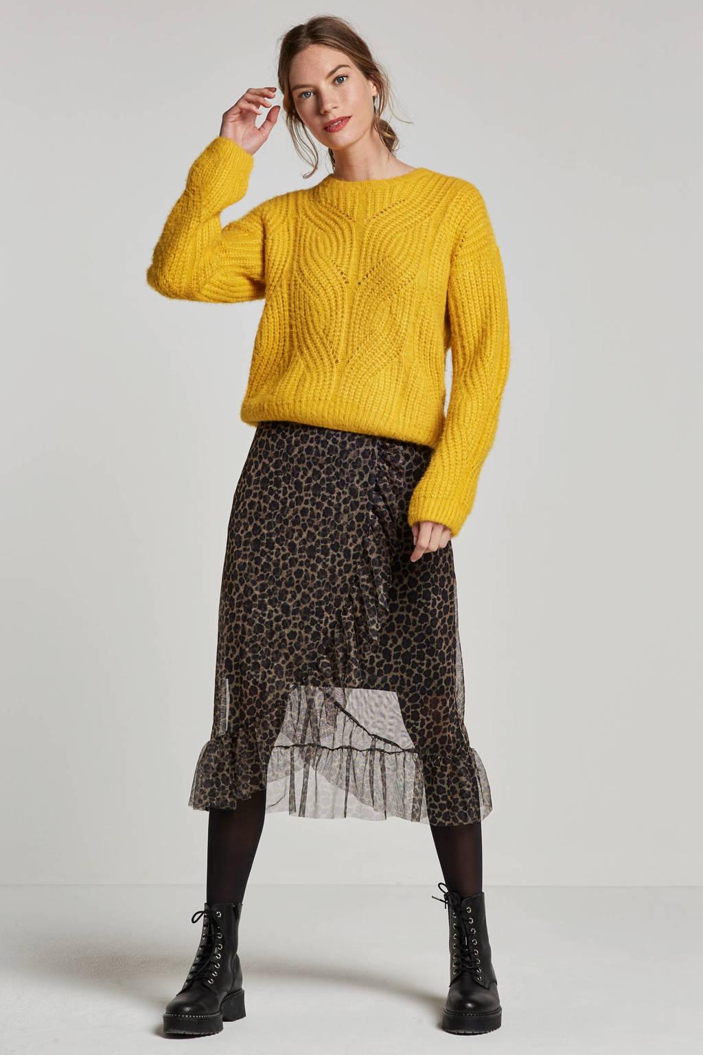 ONLY mesh overslag rok met ruches en luipaard print, Bruin/zwart