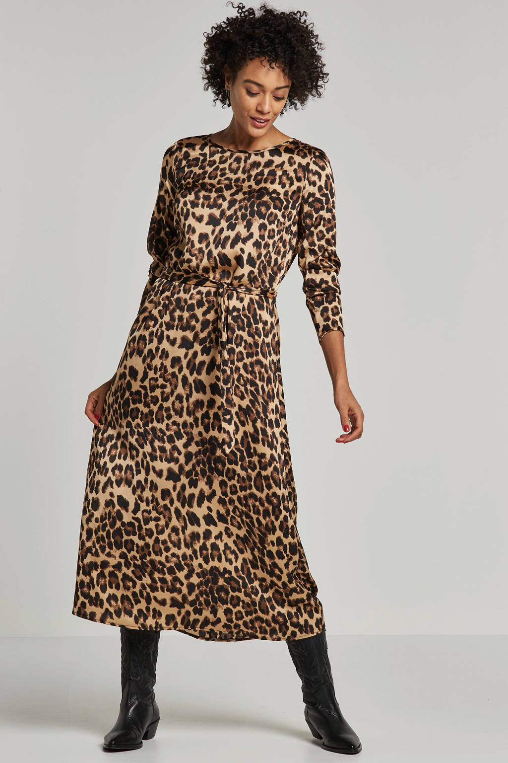 ONLY jurk met all over panter print, Beige/Zwart/Bruin