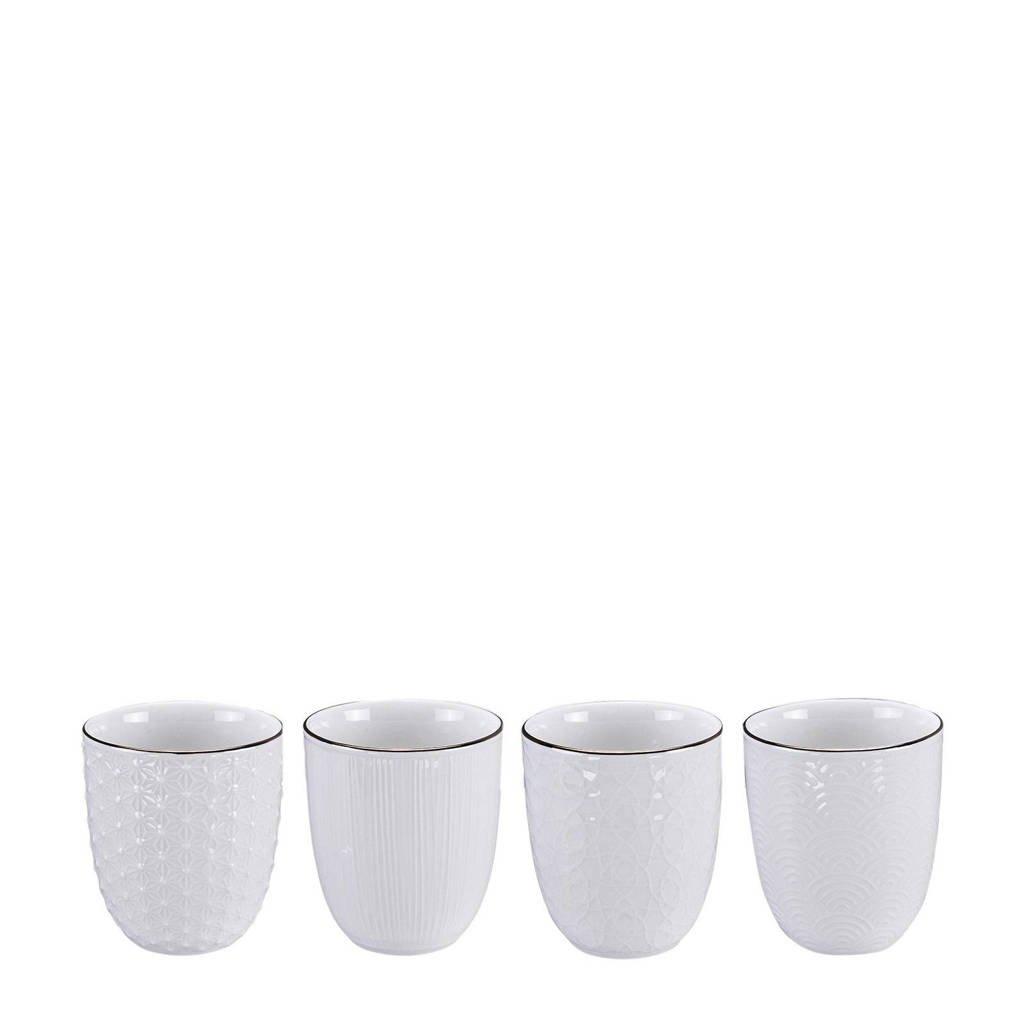 Tokyo Design Studio Nippon White kopje (Ø7 cm) (set van 4), Wit/goud