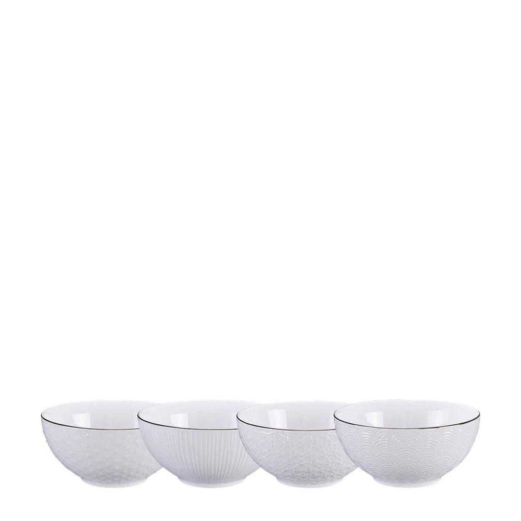 Tokyo Design Studio Nippon Blue kom (Ø15 cm) (set van 4), Wit/goud