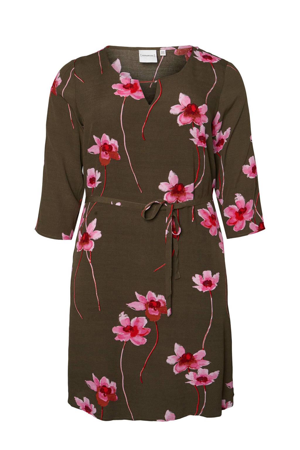 JUNAROSE jurk met bloemenprint, Groen/roze