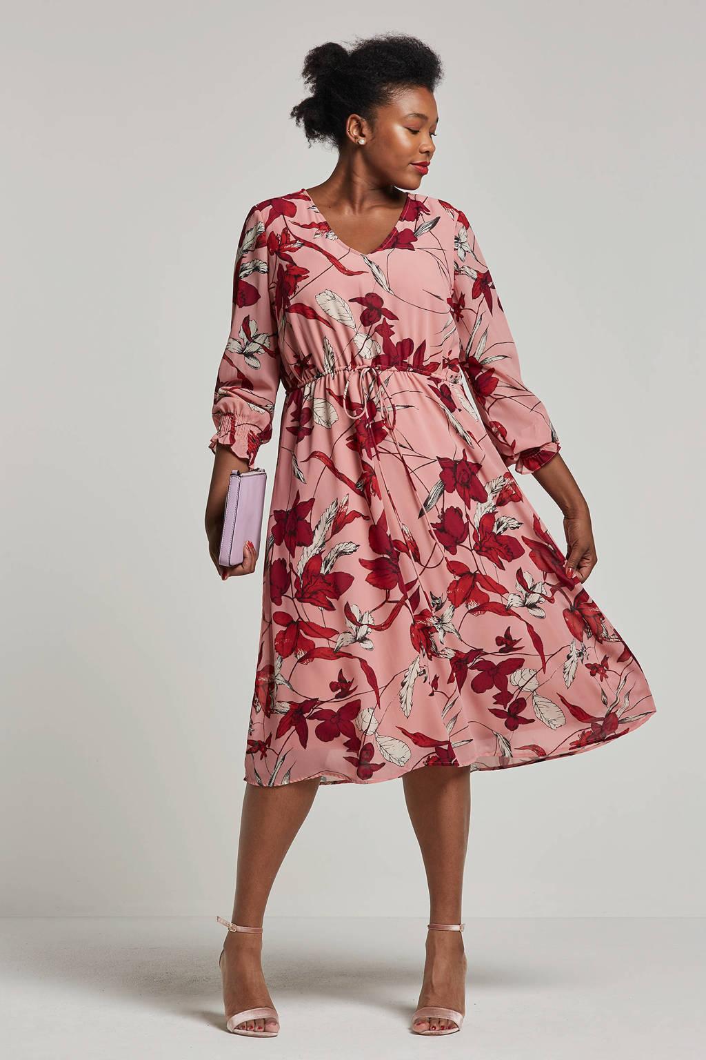 JUNAROSE jurk met bloemenprint, Roze/ Rood