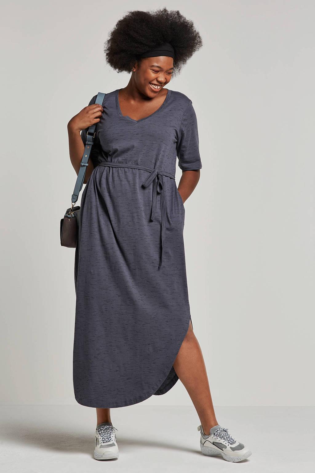 JUNAROSE jurk met taille strik grijs, Grijs