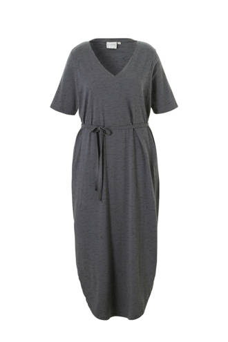 jurk met taille strik grijs
