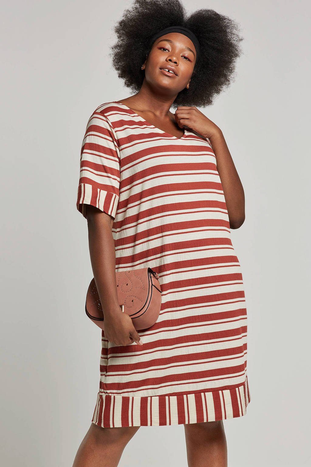JUNAROSE gestreepte jurk rood/ecru, Rood/ Ecru