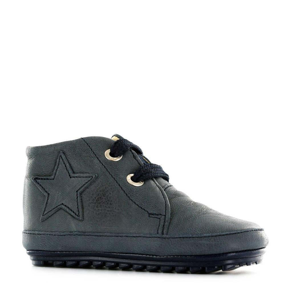 Shoesme   leren babyschoenen met ster blauw, Nachtblauw