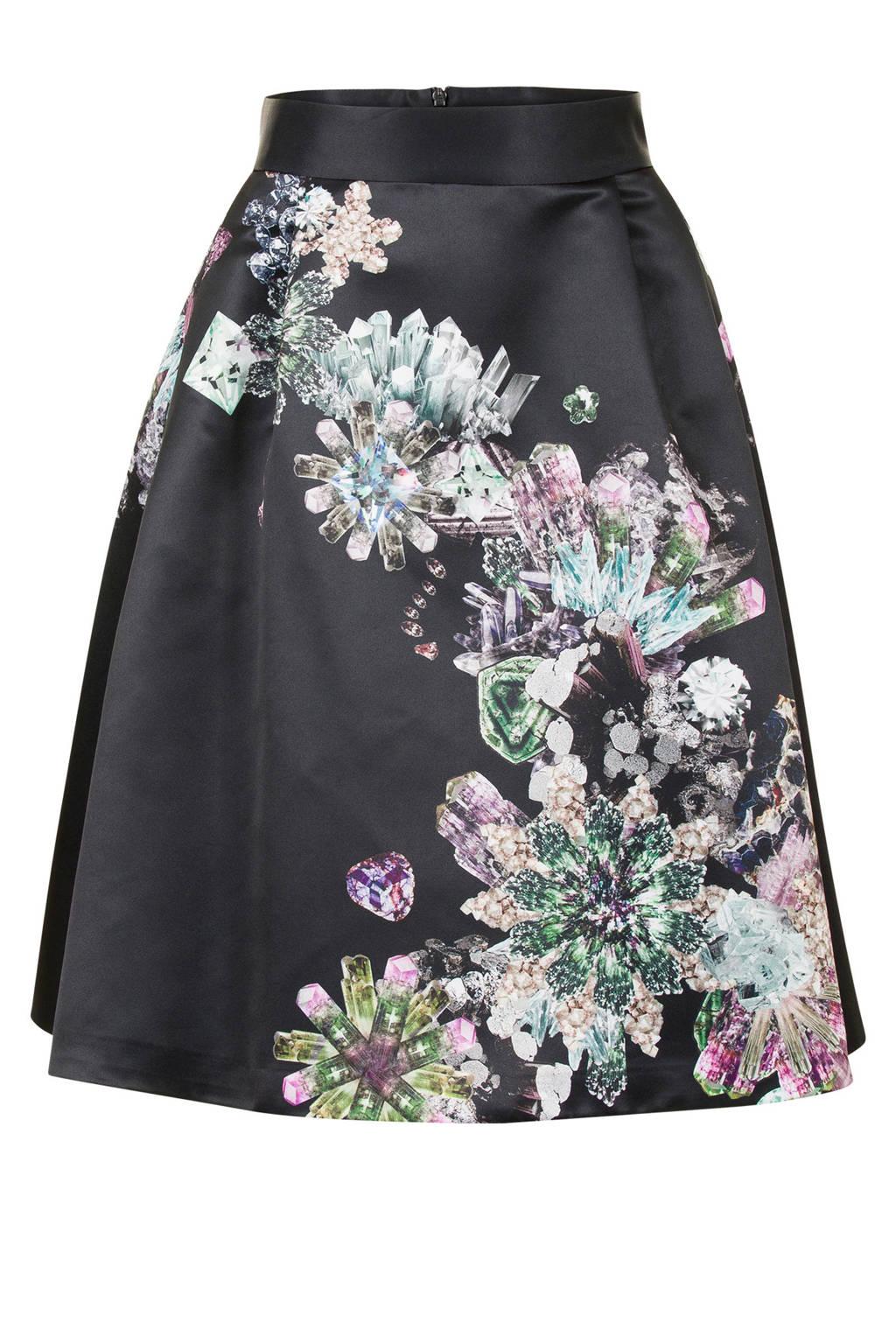 Steps rok met diamanten print zwart, Zwart/ Multikleuren