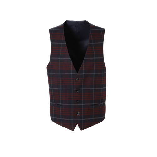C&A Angelo Litrico geruit gilet donkerrood