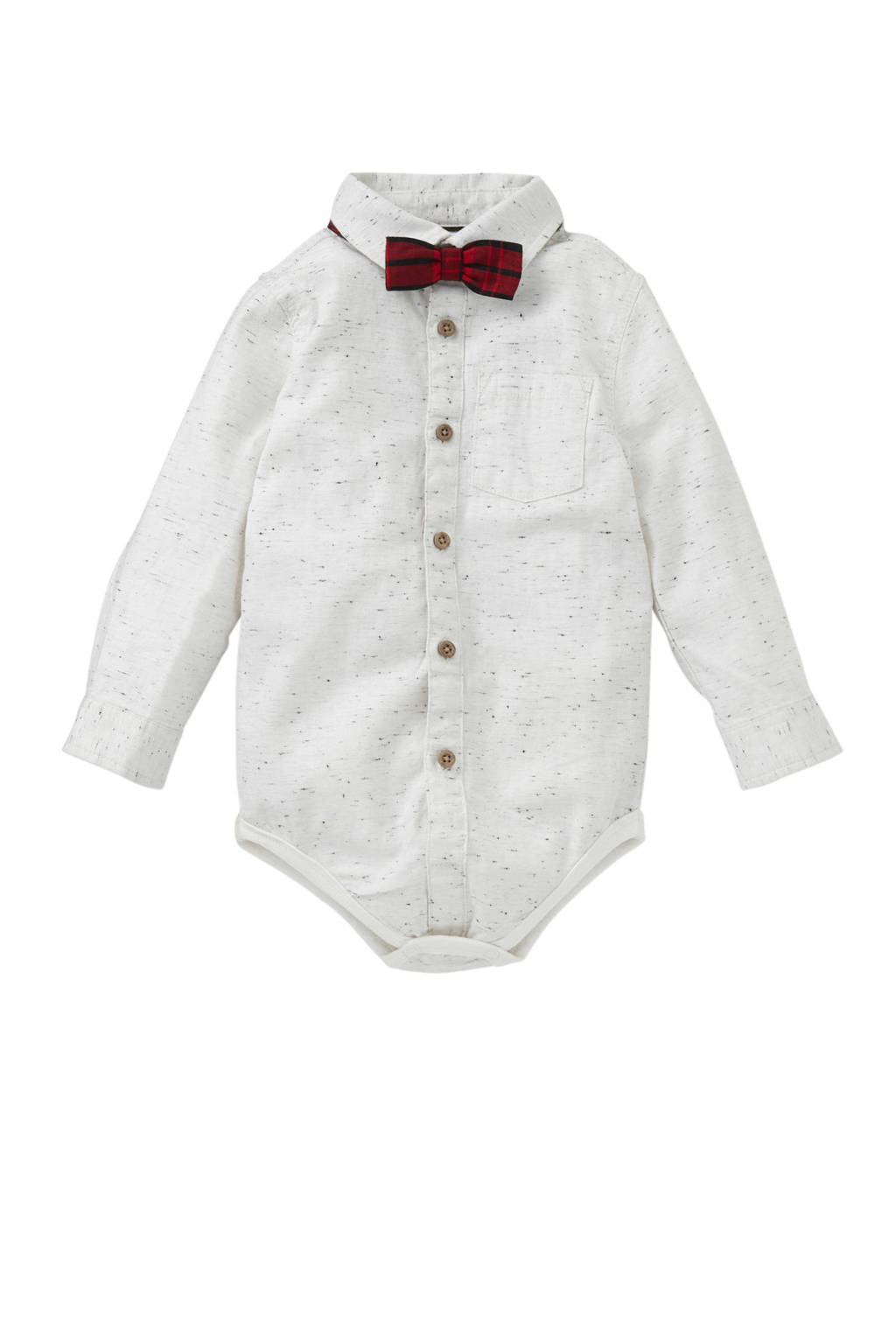 C&A Baby Club overhemd romper + vlinderstrik ecru, Ecru/rood