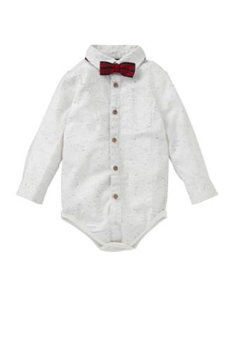 Baby Club overhemd romper + vlinderstrik ecru