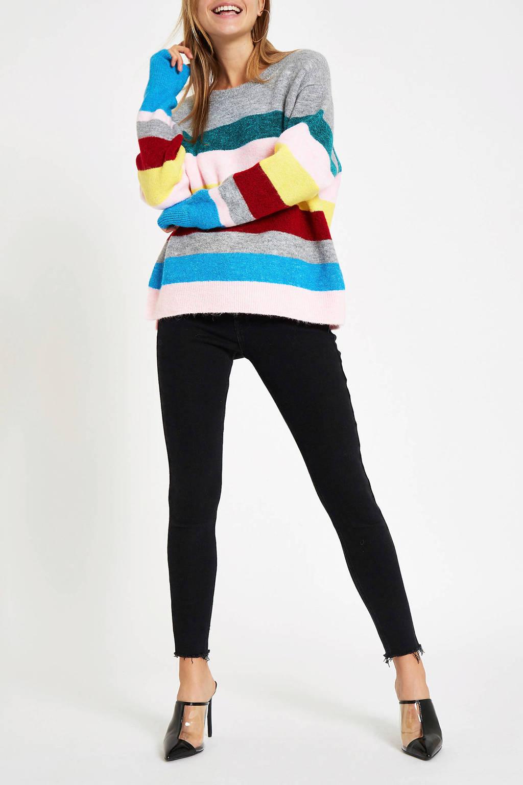 River Island gestreepte trui, Grijs/blauw/roze/rood/geel