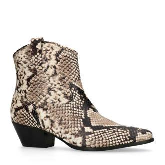 leren cowboy laarzen met slangenprint