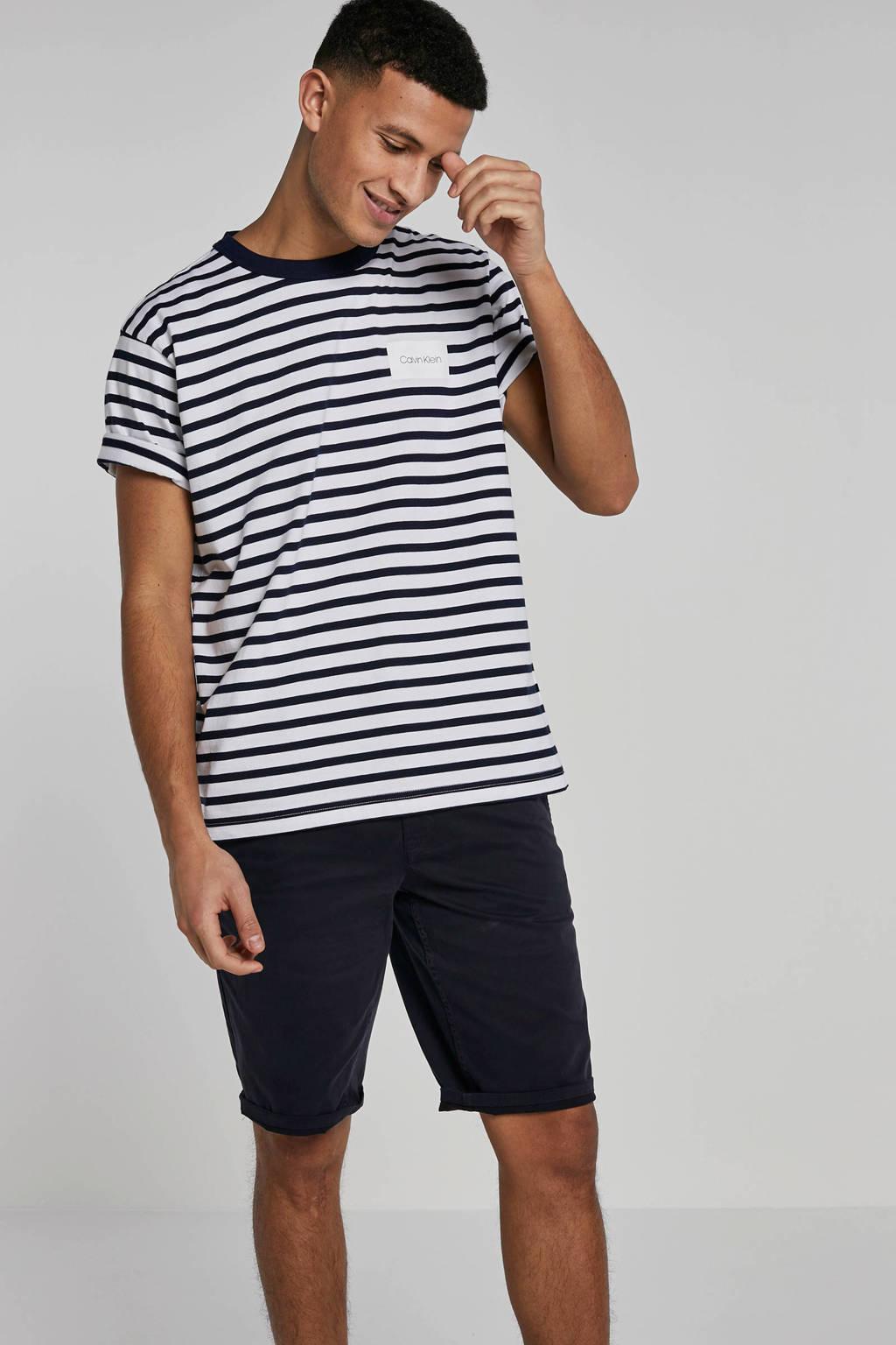 Calvin Klein gestreept T-shirt wit, Wit/zwart