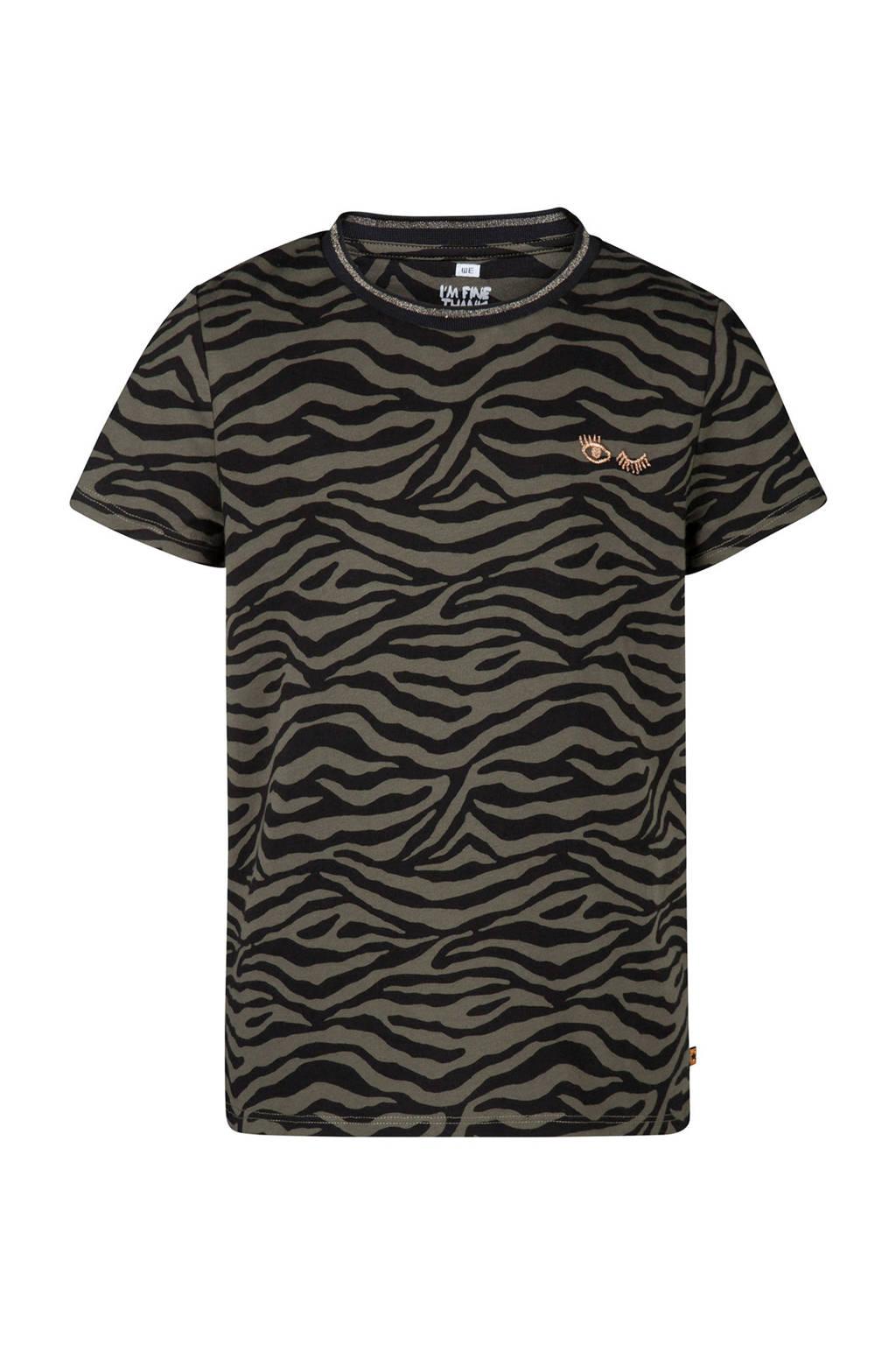 WE Fashion T-shirt met zebraprint kaki, Kaki
